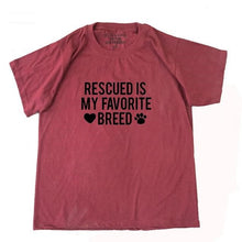 "Load image into Gallery viewer, Woman's Tee ""Rescued is My Favorite Breed"""