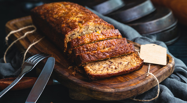 Chado's Pumpkin Gingerbread Loaf With Knife And Fork