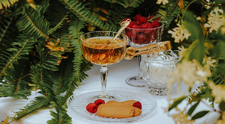 Fancy Tea With Raspberry And Cookies