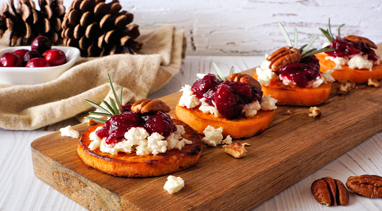 Sweet Potato Crostini with Brie, Pear, and Honey With Pinecone
