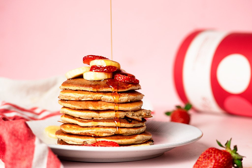 Strawberry And Banana Protein Pancakes Recipe.