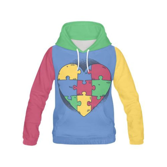 Puzzled Heart - All-Over Hoodies | La Mú.ùz