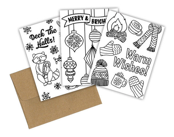 HOLIDAY COLORING CARD SET