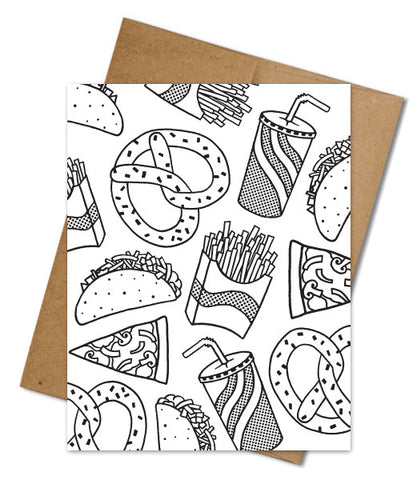 PIZZA & FRIENDS COLORING CARD