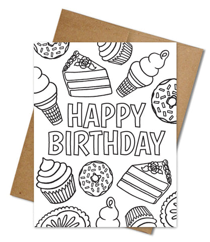BIRTHDAY TREATS COLORING CARD