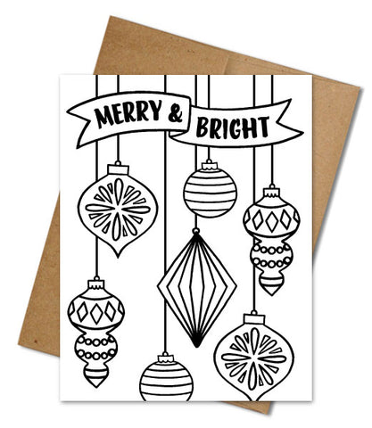 MERRY & BRIGHT COLORING CARD