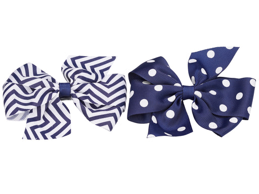 French Toast Dot & Zig Zag Medium Bow, 2 Pack