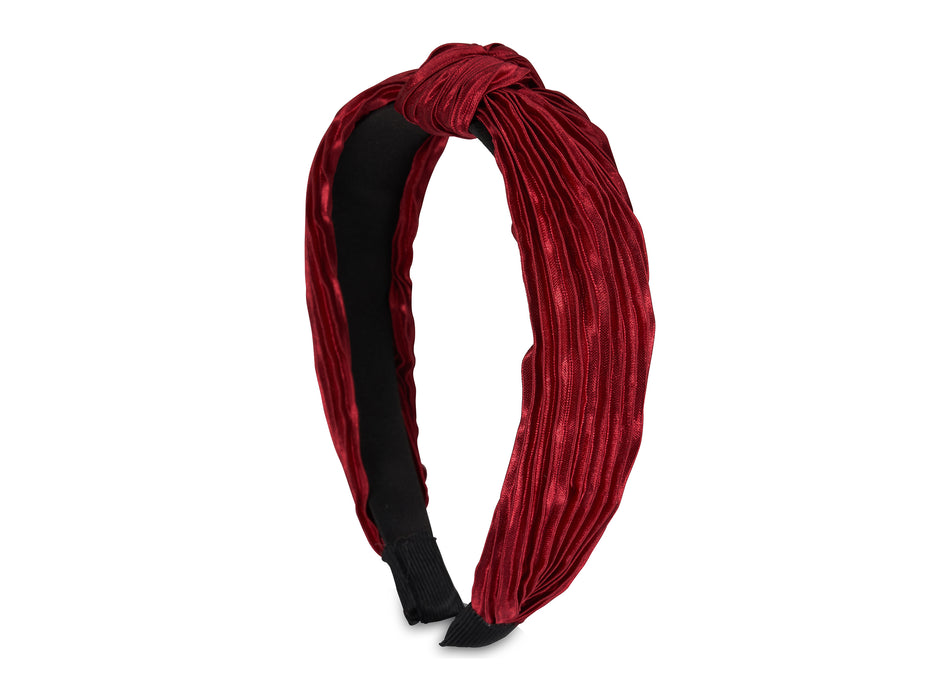 Allure Pleated Knot Burgundy Headband