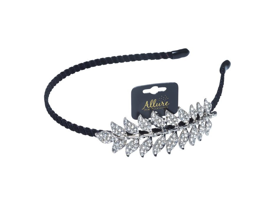 Allure Rhinestone Leaf Headband