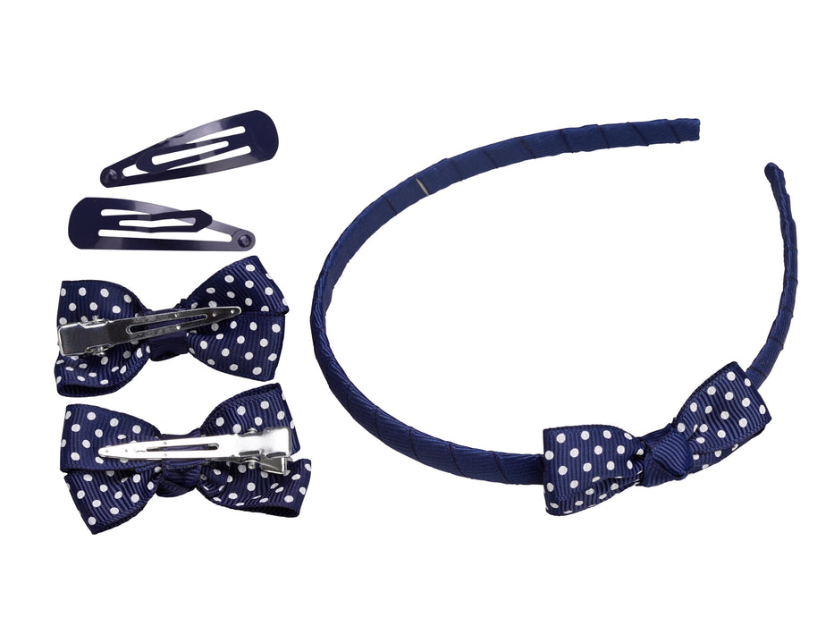 French Toast Headband, Bow & Snap Clip Set, 5 Pack