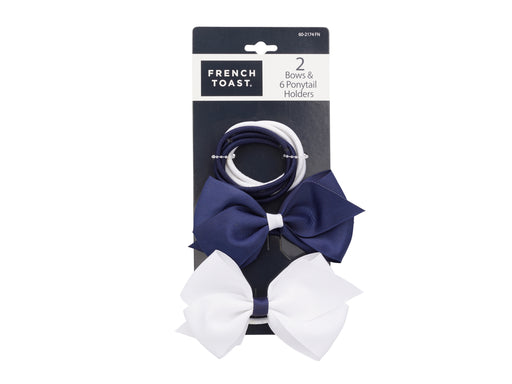 French Toast Ponytail Bows and Metal Free Elastics  8 Piece
