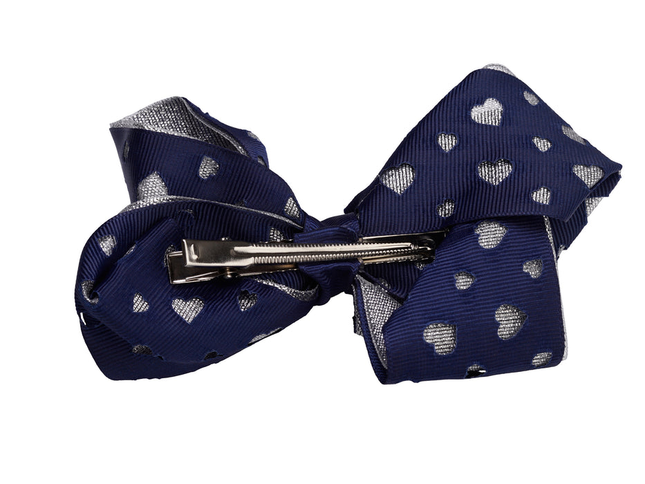 French Toast Large Bow Barrette with Cut Out Hearts