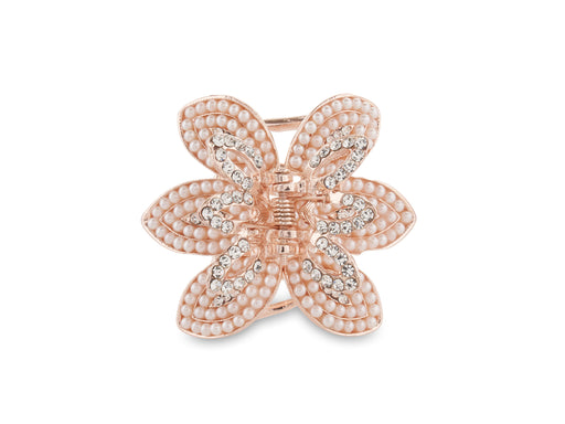 Allure Rhinestone & Pearl Rose Gold Jaw Clip