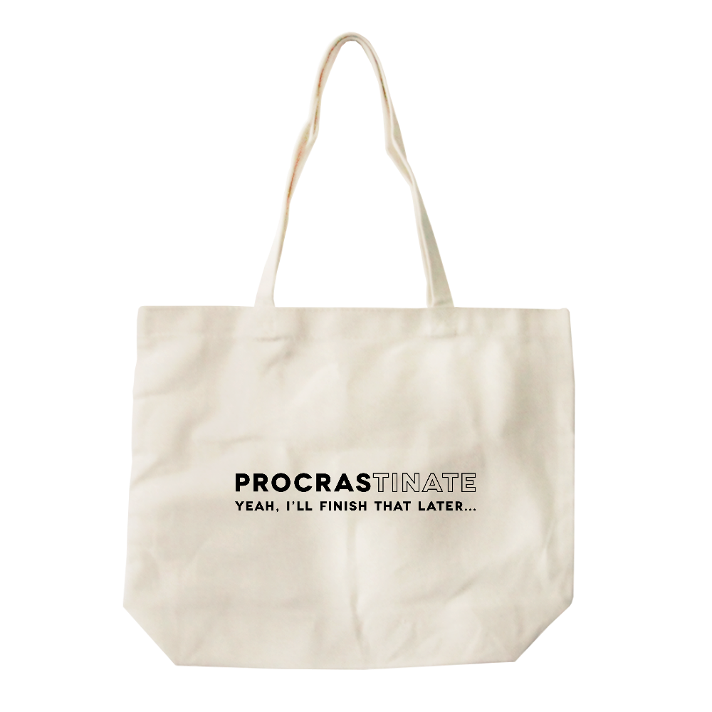Procrastinate All-Purpose Heavy Cotton Natural Canvas Tote Bag