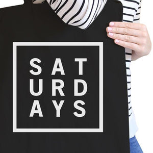 Saturdays All-Purpose Cotton Black Canvas Tote Bag