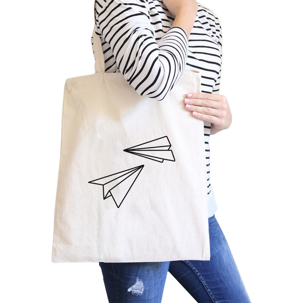 Paper Airplane All-Purpose Cotton Natural Canvas Tote Bag