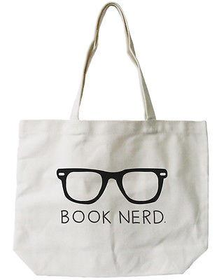 Book Nerd All-Purpose Cotton Natural Canvas Tote Bag