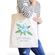Crystals and Sage All-Purpose Cotton Natural Canvas Tote Bag