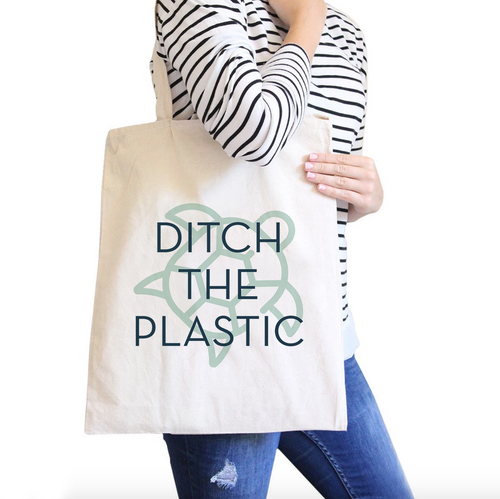 Ditch The Plastic Turtle All-Purpose Heavy Cotton Natural Canvas Tote Bag