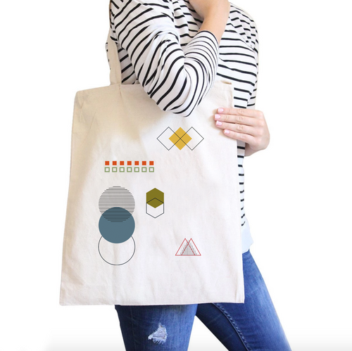 Geometric Shapes All-Purpose Cotton Natural Canvas Tote Bag