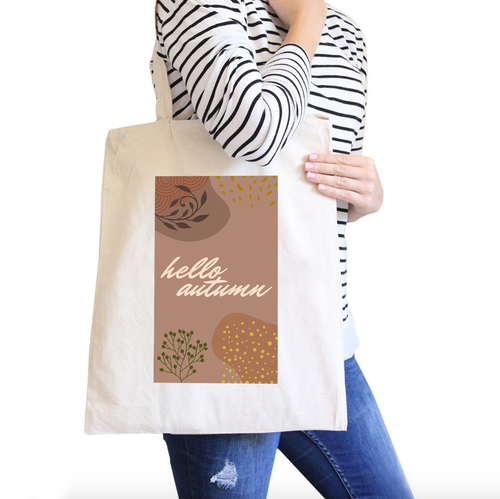 Hello Autumn All-Purpose Cotton Natural Canvas Tote Bag 2