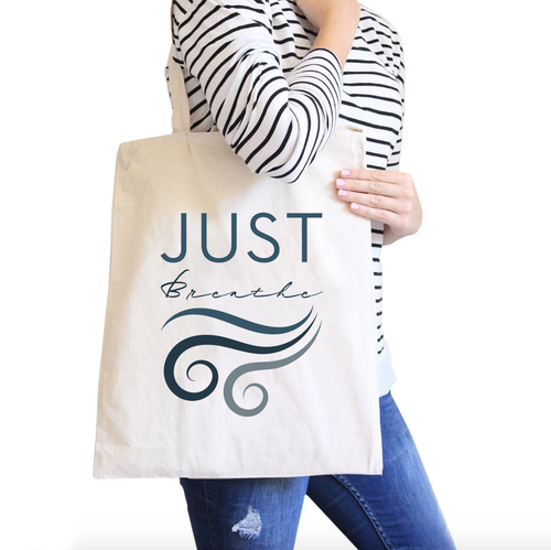 Just Breathe All-Purpose Cotton Natural Canvas Tote Bag