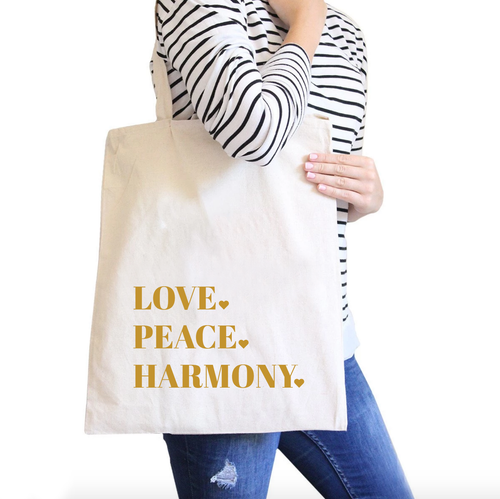 Love. Peace. Harmony. All-Purpose Cotton Natural Canvas Tote Bag