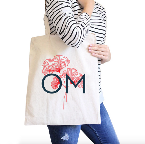 OM All-Purpose Heavy Cotton Natural Canvas Tote Bag