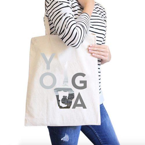Yoga All-Purpose Heavy Cotton Natural Canvas Tote Bag