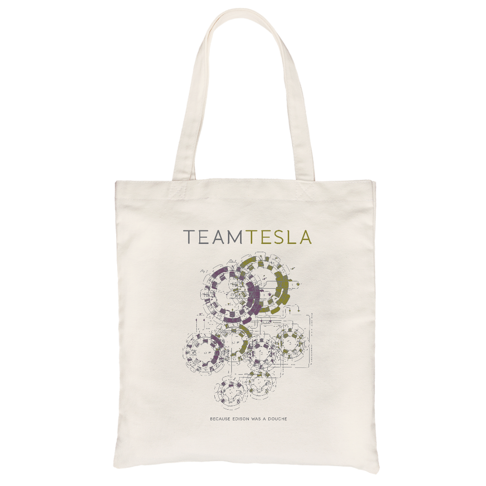 Team Tesla (Because Edison Was a Douche) All-Purpose Cotton Natural Canvas Tote Bag