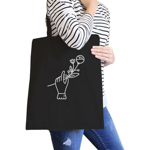 Hand Holding Flower All-Purpose Cotton Black Canvas Tote Bag