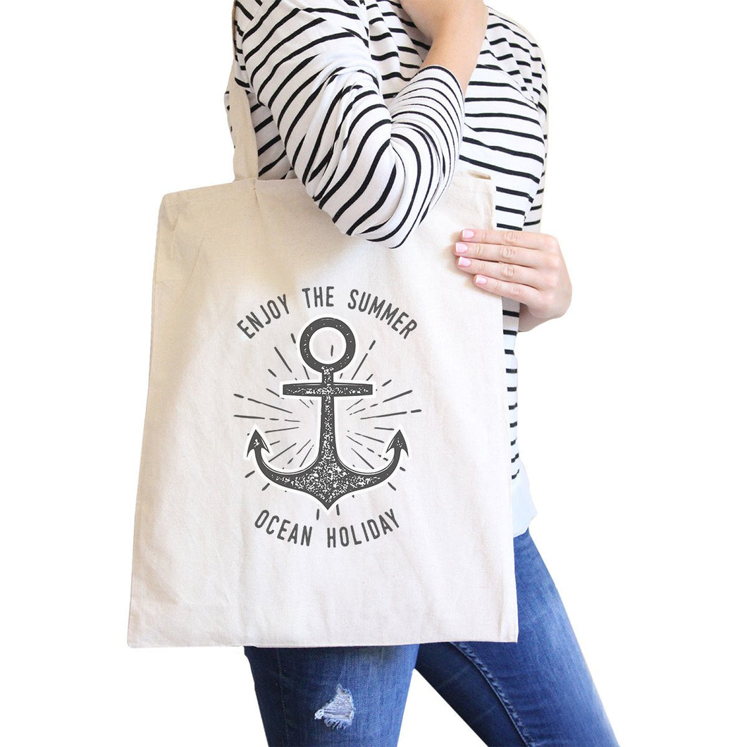 Enjoy The Summer Ocean Holiday All-Purpose Heavy Cotton Natural Canvas Tote Bag