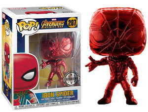 "Funko Pop Marvel Avengers Infinity War ""Iron Spider""#287 Chrome Red Mint"