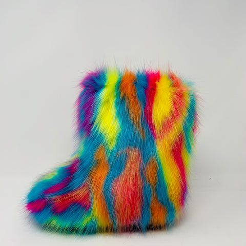 Psychedelic Faux Fur Boots