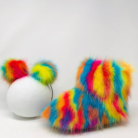 Psychedelic Faux Fur Boots with Fluffy Headband