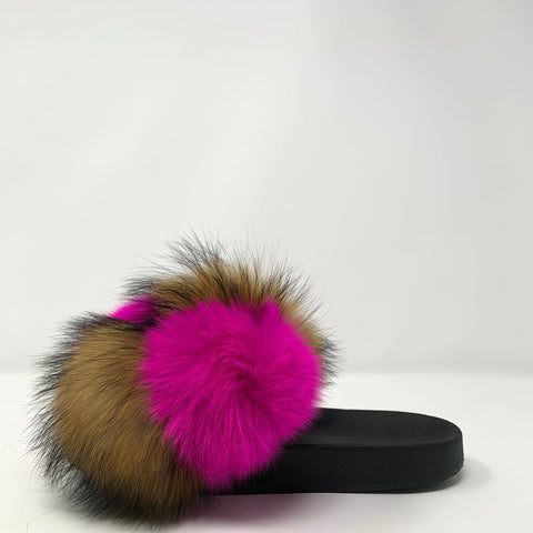 Pink Grizzly Pom Slides