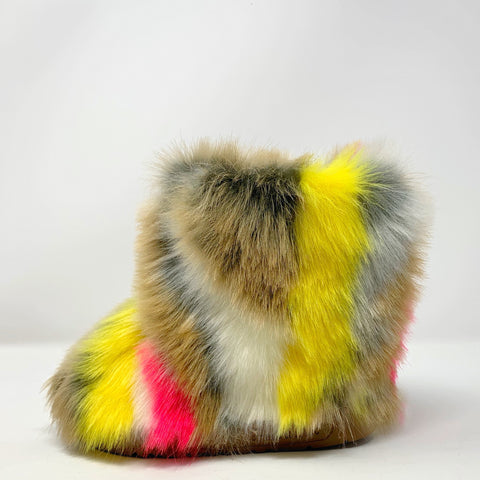 Little Yellow Splat Faux Fur Boots