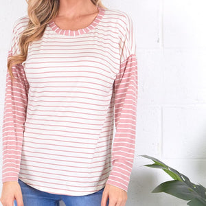 Long-Sleeve Striped French Terry Top