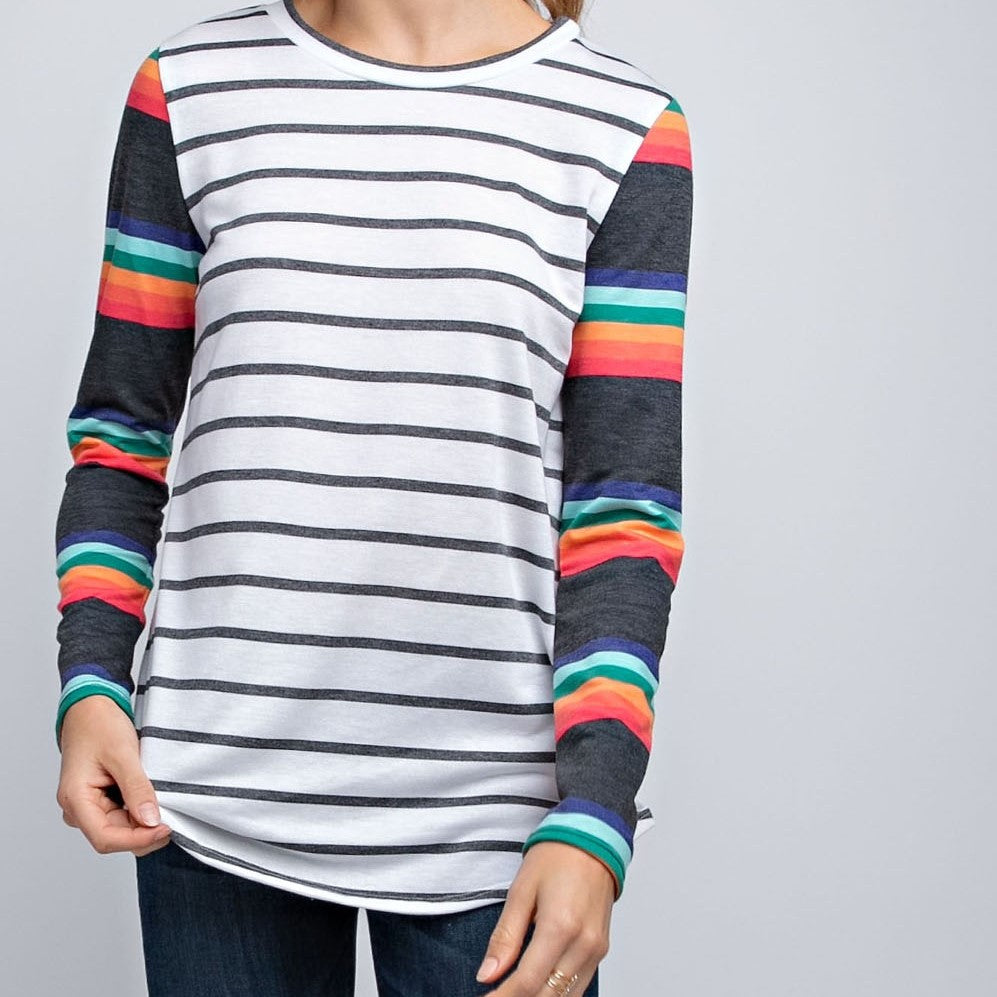 Long-Sleeve Rainbow Striped French Terry- Ivory