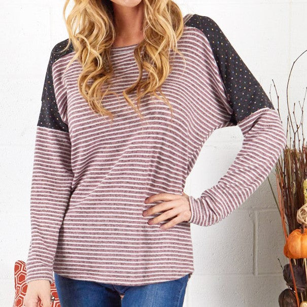 Long-Sleeve Striped and Sprinkled Tunic