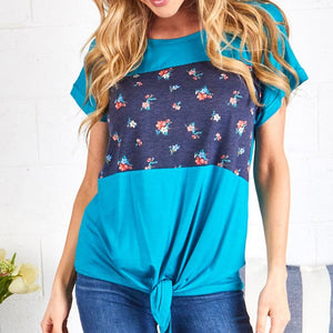 Solid & Floral Front Knot Tunic- Blue