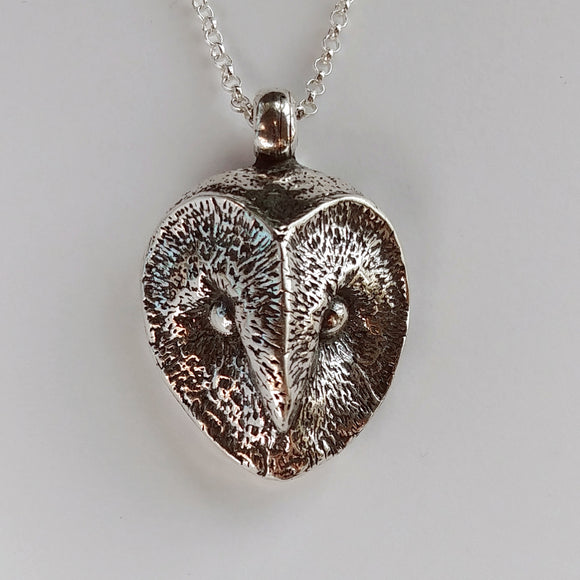 Barn Owl Statement Sterling Silver Necklace