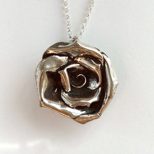 Rose Extra Large Necklace Sterling Silver One of a Kind