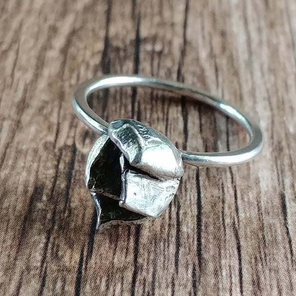 Sterling Silver Hen Succulent Stackable Ring