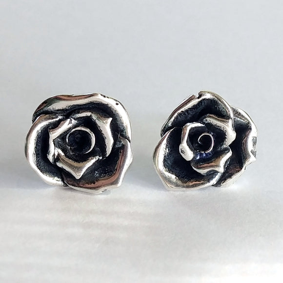 Rose Post Earrings Sterling Silver