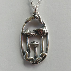 Mushroom Portrait Necklace in Sterling Silver