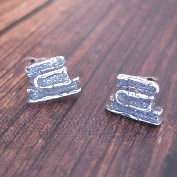 Sterling Silver Book Post Earrings