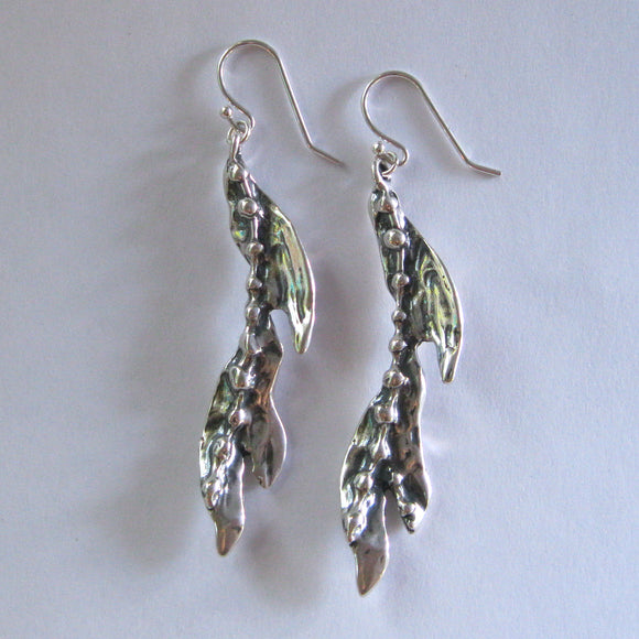 Seaweed Kelp Sterling Silver Earrings