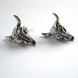 Bison Skull Sterling Silver Post Earrings