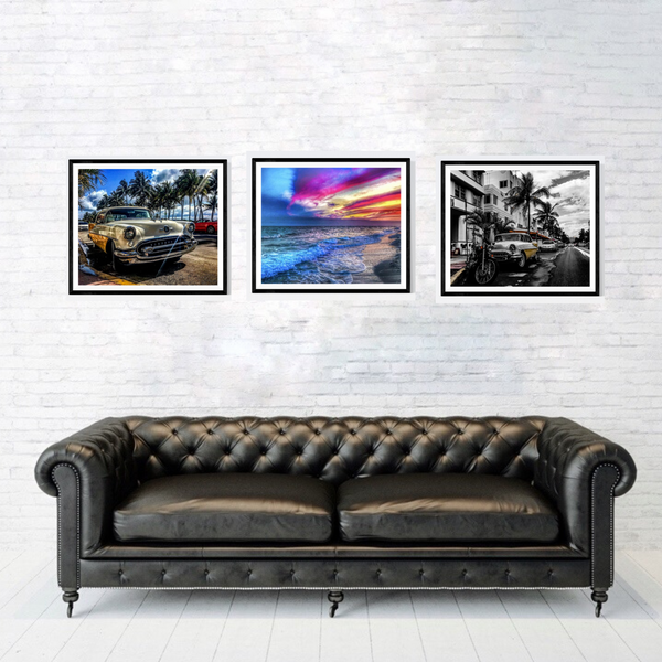 South Beach Miami Photography Print Set | Set of 3 Wall Art at 30% off | Vintage Cars, Florida Beach |Ocean Boulevard Wall Decor